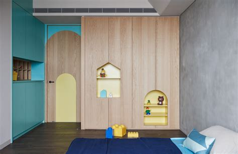 teal kids bedroom colorful modern apartment for a family with small children