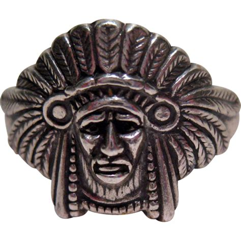 L 561 Lu Gantung Vintage reserved for lu ring american indian chief headdress antique ables ruby