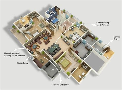 4 room flat floor plan 4 bedroom apartment house plans