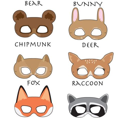 woodland forest animals printable masks woodland animal
