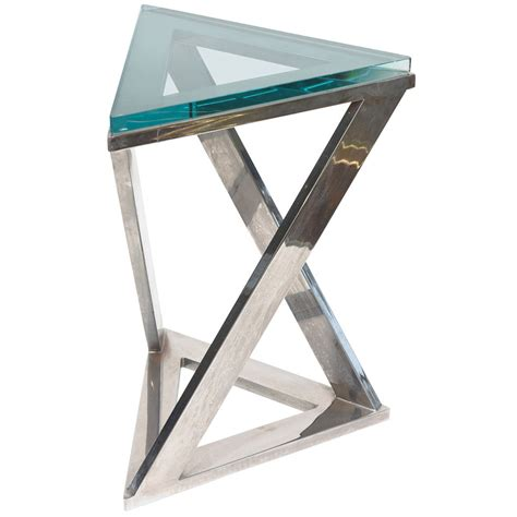 Triangle Side Table Sculptural Triangle Pace Side Or Drink Table With Triangle Green Glass At 1stdibs