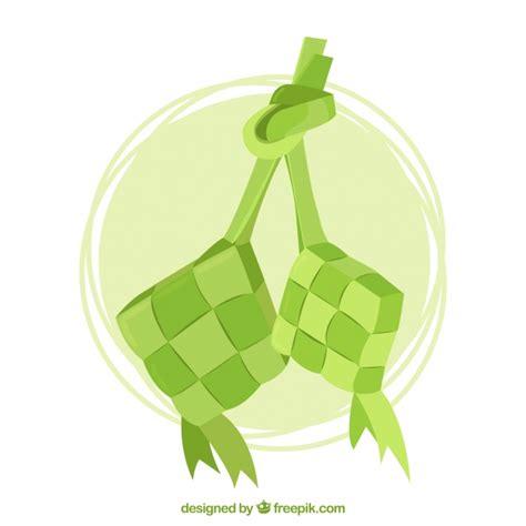 traditional ketupat composition  flat design vector