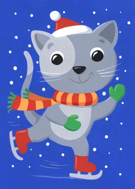 cat ice skating christmas card  sunrise