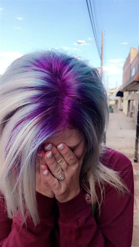 hair shadowing dark purple green and blonde on top brown on bottom best 25 root color ideas on pinterest long bronde hair