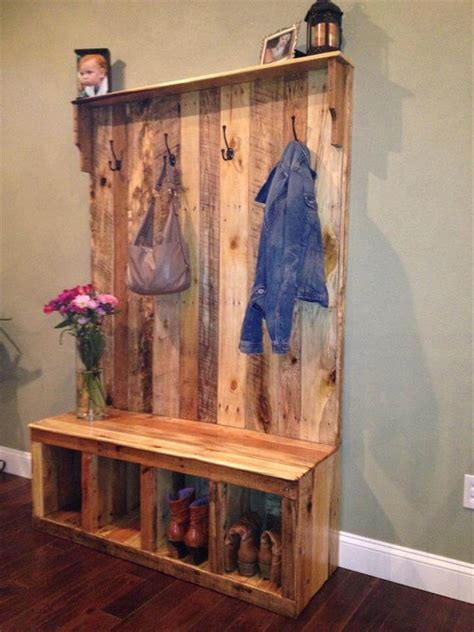 Corner Bench And Shelf Entryway Pallet Hall Tree Shoe Rack Or Coat Rack 101 Pallets