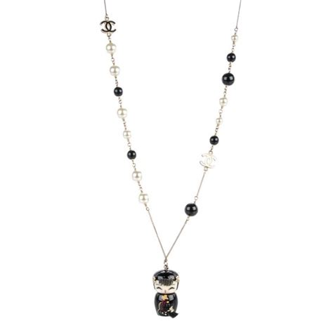 black doll necklace chanel pearl shanghai china doll necklace black 151862