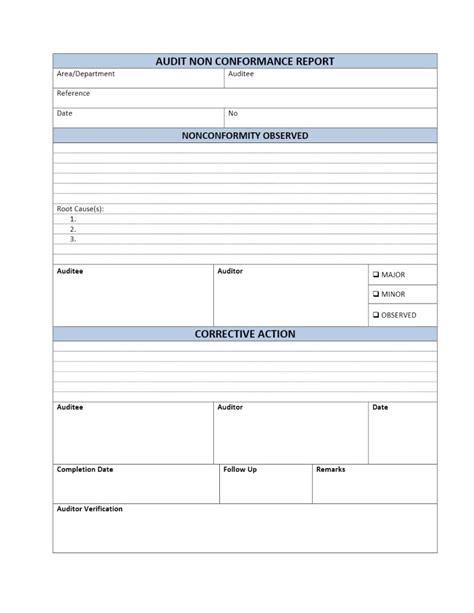 Non Conformance Database Template Audit Non Conformance Report