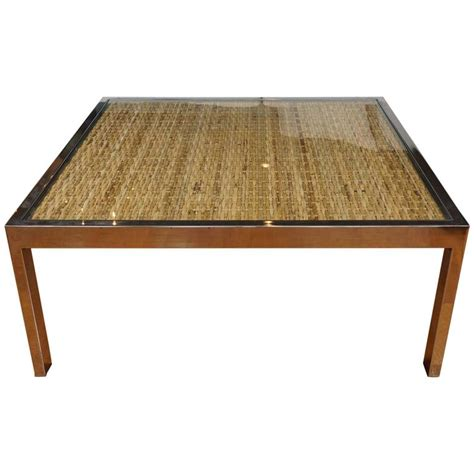 Square Wicker Coffee Table Square Chrome And Wicker Coffee Table For Sale At 1stdibs