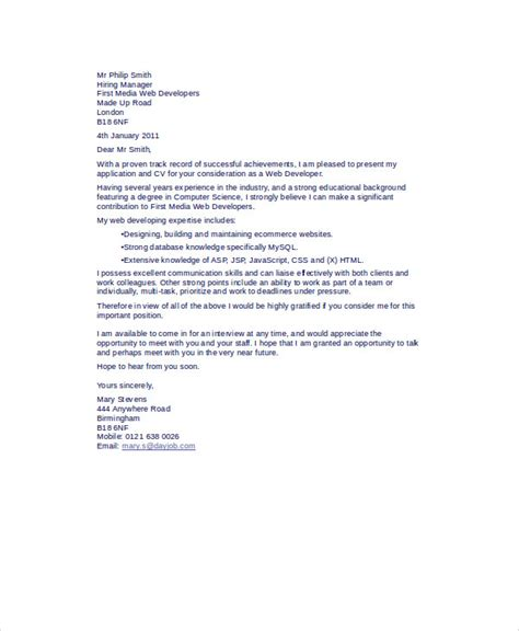Web Developer Cover Letter by Web Developer Cover Letter 8 Exles In Word Pdf