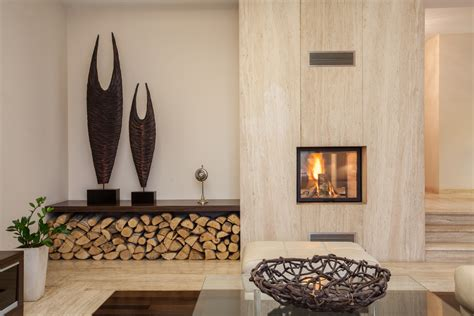 wood fireplace and wood holder interior design ideas