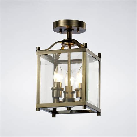 Brass Ceiling Lantern by Diyas Aston 3 Light Semi Flush Ceiling Lantern In Antique Brass Finish Lighting Type From