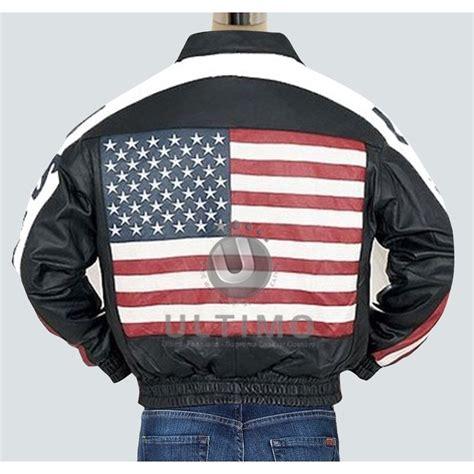 Jaket Usa american flag leather jacket stylish bomber american