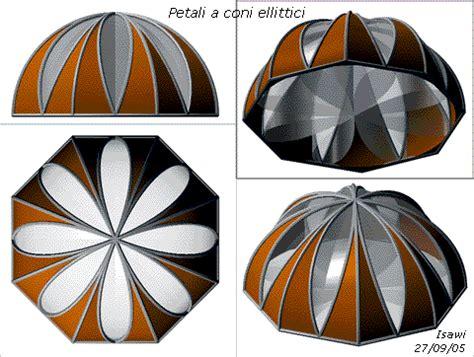 cupola di rotazione geometria descrittiva in 3d cupola con petali a coni