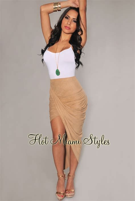 ruched draped skirt nude faux suede ruched asymmetrical draped skirt