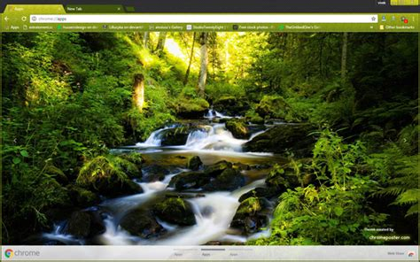 theme chrome nature waterfall in forest chrome theme chromeposta