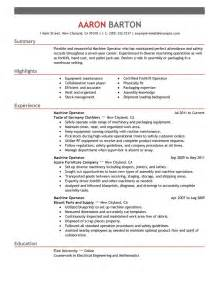 machine operator resume exle production sle