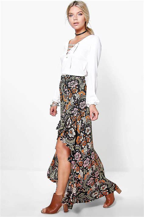 boohoo womens zala ruffle side bohemian maxi skirt ebay