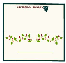 free christmasplace card template free printable place cards