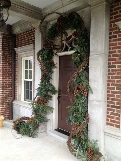 christmas front door entry decor evergreen garland