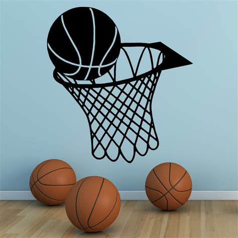 Rugby Wall Stickers basketball and net hoop vinyl wall art sticker sports hall