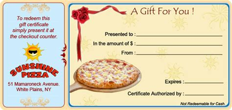 printable pizza gift cards best photos of restaurant gift card template restaurant