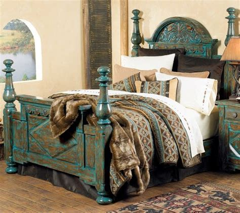 turquoise bed frame rustic chic turquoise decorating carved turquoise bed