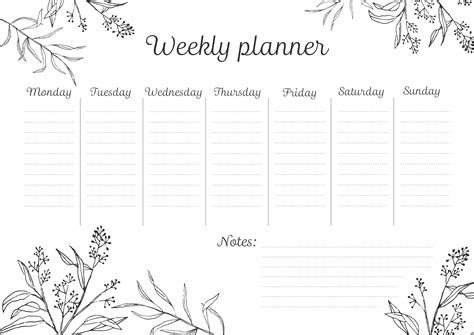 weekly planner printable black and white printables crocus paperi wedding invitations graphic