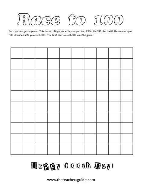 free printable blank hundreds chart worksheets worksheet blank 100s chart discoverymuseumwv worksheets