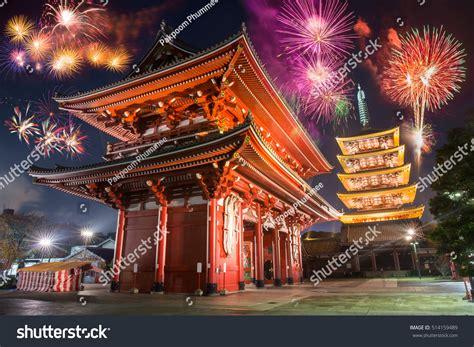 colorful firework over sensoji temple asakusa stock photo