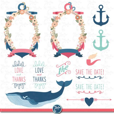 Nautical Wedding Clipart by Wedding Clipart Quot Wedding Flora Nautical Quot Clip
