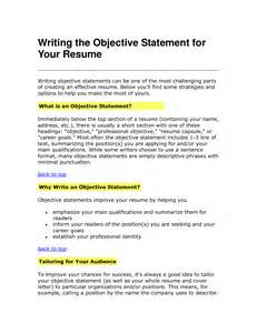 objective statements for resume