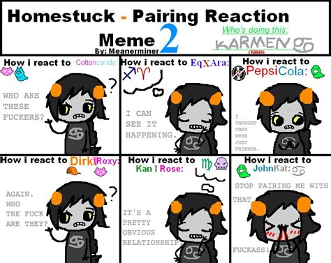 Homestuck Memes - homestuck pairing meme by f u c k a s s