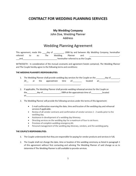 Wedding Planner Contract by Wedding Planner Contract Template