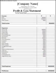 Profit And Loss Free Template by Printable Profit And Loss Statement Free Word S Templates