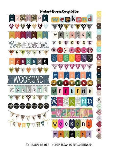 printable weekend banner free printable weekend banner planner stickers pdf jpg