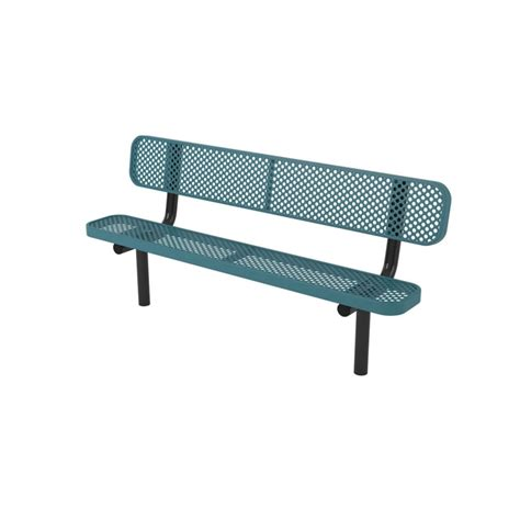 metal bench with back quick ship 8 ft thermoplastic coated perforated metal