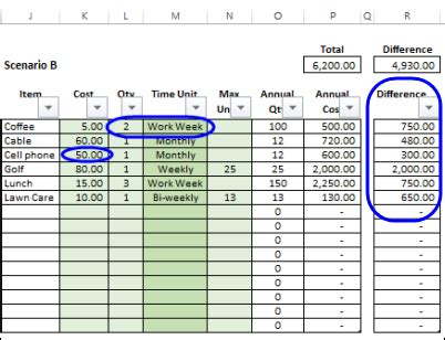 Calculate Annual Costs And Savings In Excel Contextures Blog Cost Savings Tracking Template