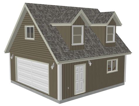 24 x 24 garage plans g527 24 x 24 x 8 garage plans with loft and dormer render sds plans