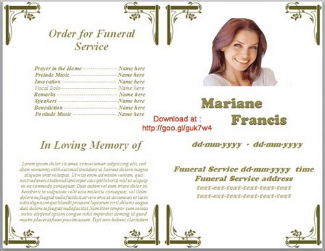 memorial bulletin template memorial service programs template microsoft office word