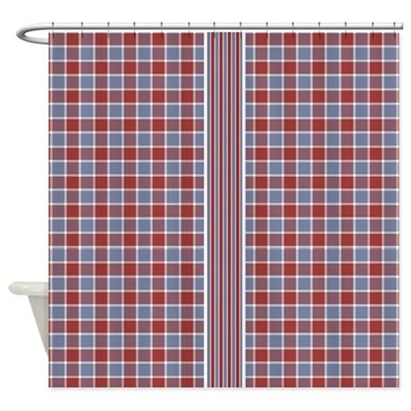 Country Plaid Curtains Country Plaid With Stripe Shower Curtain By Hhtrendyhome