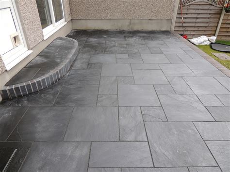 backyard tile cwm llynfi bricklaying carbon black slate patio