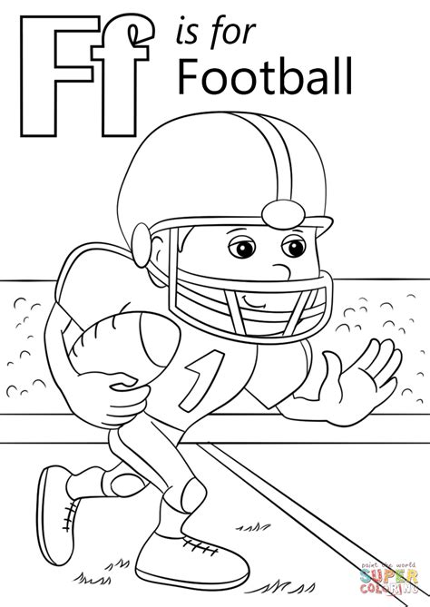 color with f letter f is for football coloring page free printable