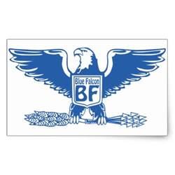 blue falcon rectangular sticker zazzle