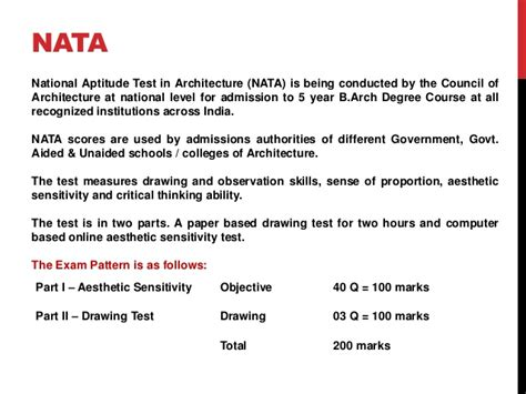 pattern of net exam for commerce nid nift nata entrance exam pattern syllabus