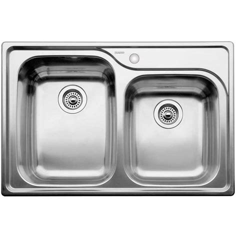 blanco double stainless steel sink blanco 440239 supreme stainless steel drop in double bowl