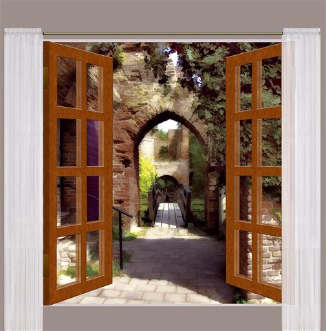window view  spanish courtyard painting  elaine plesser