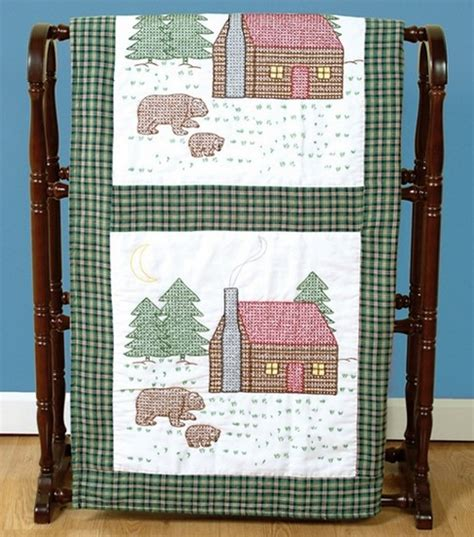 Dempsey Needle Quilt Blocks by Dempsey Stmpd White Quilt Blocks 18 X18 Cabin Bears At Joann