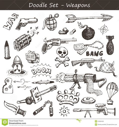 doodle shooting doodle weapons stock vector image of grenade drawing