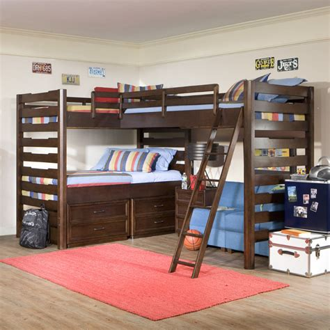 Studio Triple Corner Loft Bed Modern Kids Beds By Corner Loft Bunk Beds