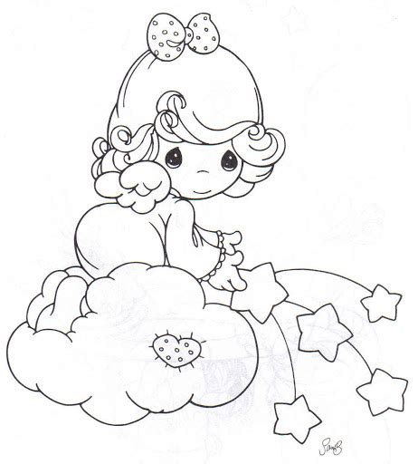 angel with stars coloring pages precious moments